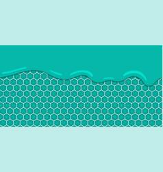 Liquid flowing seamless mint honeycomb vector