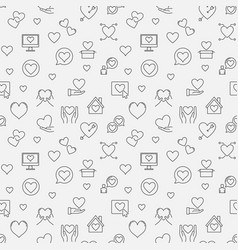 love concept seamless pattern in outline vector image