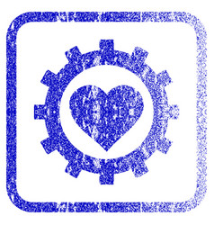 Love heart options gear framed textured icon vector