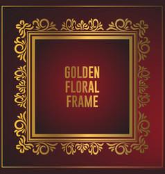 Luxury golden floral frame design gold frame vector