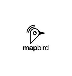 Map bird logo design concept vector