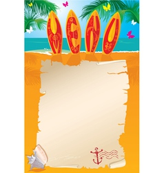 Menu Design - surf boards with hand drawn text vector