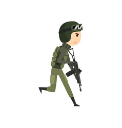 Military man running with gun soldier character vector