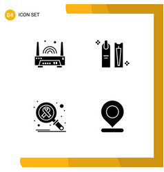 Modern set 4 solid glyphs and symbols such as vector