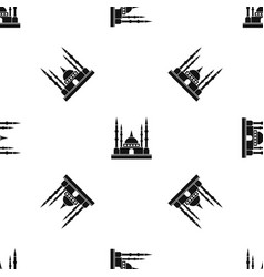 Mosque pattern seamless black vector