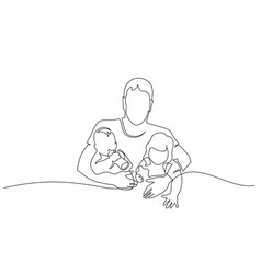 one line drawing father with son in hands vector image