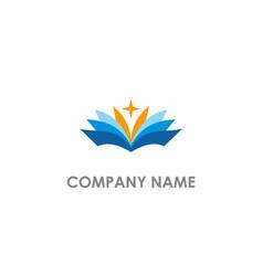 Open book education star logo vector