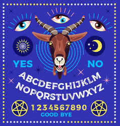 Ouija board with goat occultism set vector