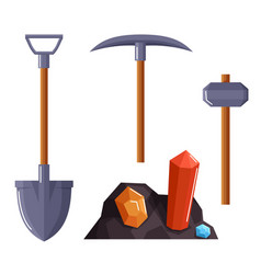 Pickaxe shovel and hammer equipment for mining vector