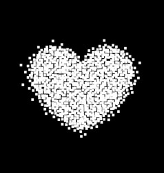 pixel heart sign black and white background vector image