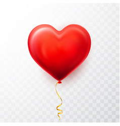 realistic red heart balloon on transparent vector image