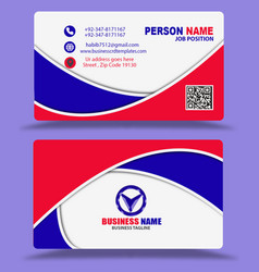 Red blue business cards template psd vector