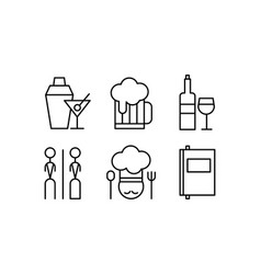 restaurant line icons set cafe bar food vector image
