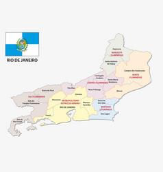 Rio de janeiro administrative map with flag vector