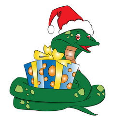 santa snake with gift vector image