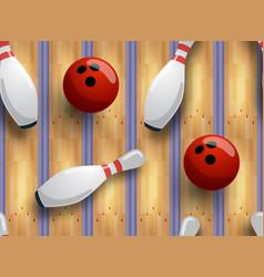 seamless bowling pattern bowling track ball vector image