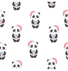 seamless pattern with panda bear in red santas vector image
