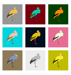 Set in flat style stork vector