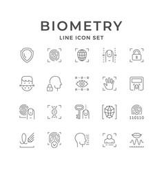 Set line icons biometry vector