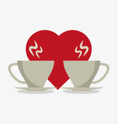 set love for coffee in crokery vector image