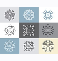 set of calligraphicflower abstract templates vector image