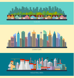 Set of flat design urban landscape vector image