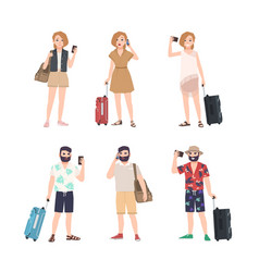 set of male and female travelers with smartphones vector image