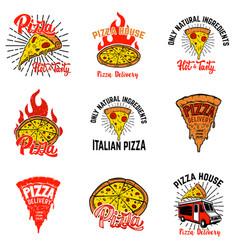 set pizza labels design elements vector image
