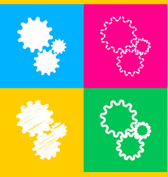 settings sign four styles of icon on vector image