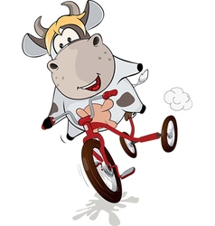 Small cow and tricycle cartoon vector