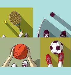 sports set flat football basketball tennis hockey vector image