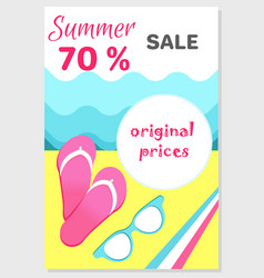 summer sale poster with 70 discount off vector image