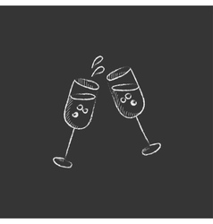 Two glasses of champaign drawn in chalk icon vector
