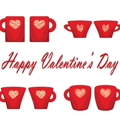 valentine day couple of cups white background vector image