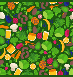 vegan seamless pattern with isolated fruits and vector image