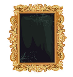 vintage golden ornate florid frame with blank vector image