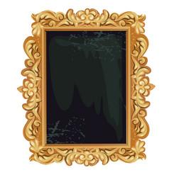Vintage golden ornate florid frame with blank vector