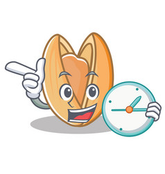 With clock pistachio nut character cartoon vector