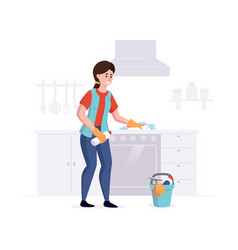 woman from a cleaning service professional cleans vector image