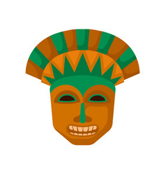 wooden tiki mask with big teeth religious symbol vector image
