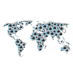 worldwide map collage of thumb up icons vector image
