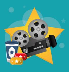 cinema movie projector tickets and soda drink vector image vector image
