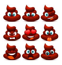 emoji shit and sad icon set collection vector image vector image