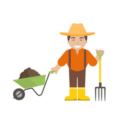 farmer or gardener holding a pitchfork and vector image
