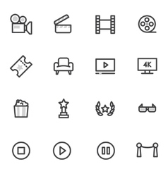 icons on the theme of cinema and films vector image vector image