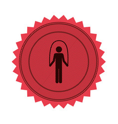 pink circular seal with training in jumping rope vector image vector image