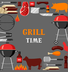 bbq time background with grill objects and icons vector image vector image