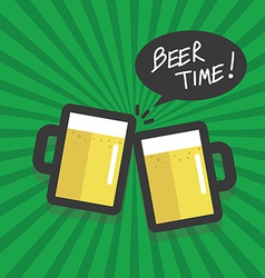 Beer time flat design vector image vector image