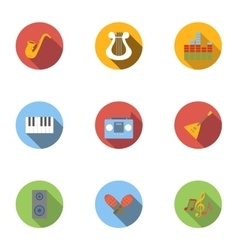 Device for music icons set flat style vector image vector image