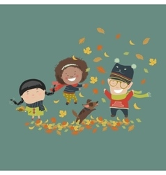 Kids playing with autumn leaves vector image
